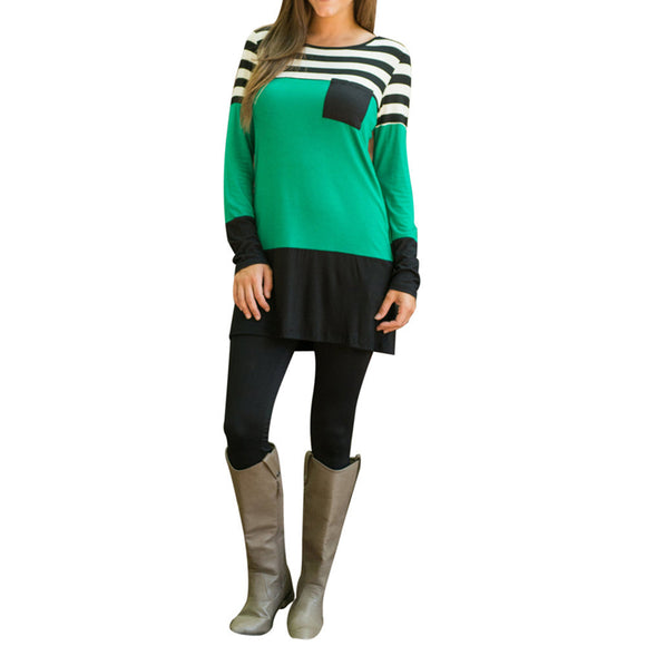 Women Autumn Round Neck Long Sleeve Striped Splicing Blouse Top - g-y-mega-store