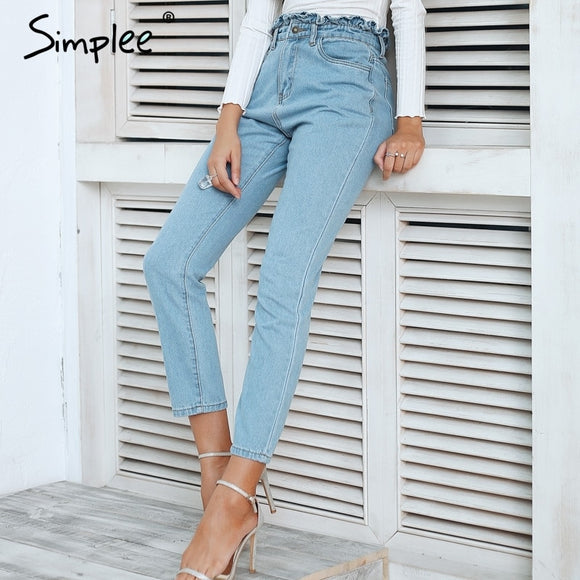 Simplee Pleated push up jeans high waist woman Light blue casual women jeans pants 2018 Autumn winter skinny jeans female - g-y-mega-store