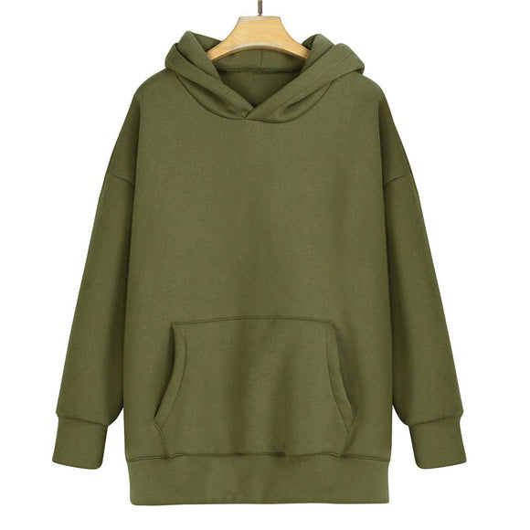Unisex Loose Fleece Warm Long Sleeve Solid Pullover Hoodies Sweatshirt