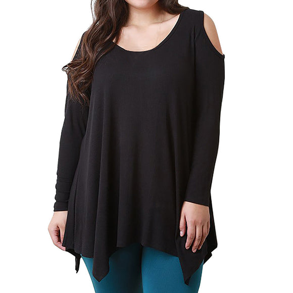 Fashion Women Plus Size Tops Long Sleeve O-Neck Casual Strapless Shirt Blouse - g-y-mega-store