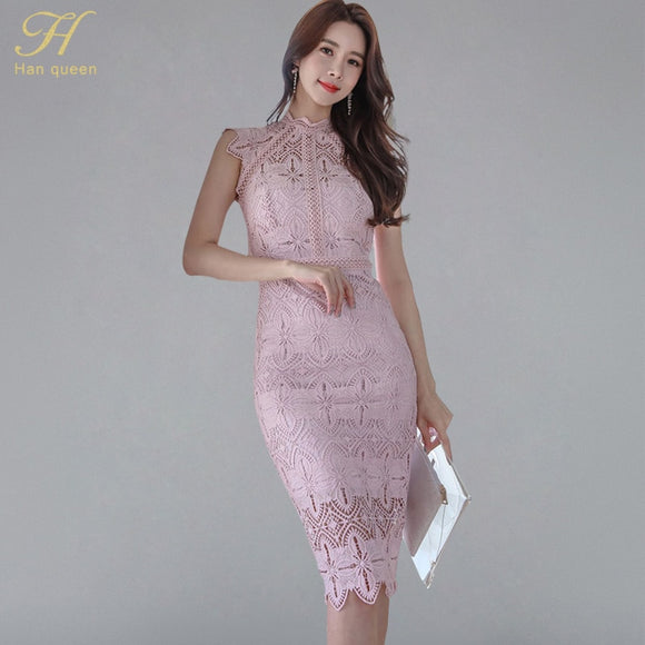 4bb4fac593752 H Han Queen Women Sexy Elegant Lace Hollow Out See Through Pencil Dres