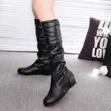Women Winter Flat Solid Color Martin Pointed High Long Boots Casual Shoes - g-y-mega-store