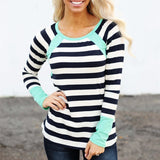 Fashion Autumn Women Stripe Tops Long Sleeve O-Neck Casual T-Shirt Blouse - g-y-mega-store