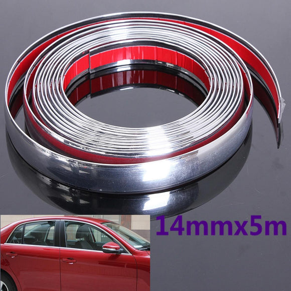 14mm 5M Auto Car Styling Decorative Moulding Strip Trim Self Adhesive Protecter Decal Chrome Styling Van - g-y-mega-store