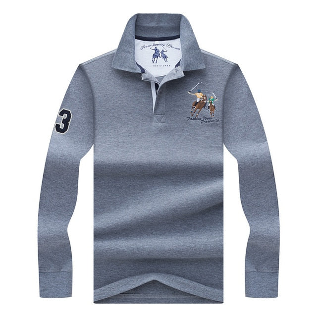 eb75169d ... High Quality Solid color 3D Embroidery Polo Shirt Casual Polo Shirts  men's Long sleeve polo shirt ...