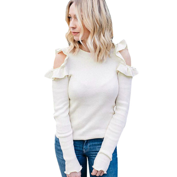 Women's Autumn O Neck  Loose Long Sleeve Shirt Casual Blouse Tops T-Shirt - g-y-mega-store
