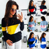 Women Casual Color Block Long Sleeve Pullovers Sweatshirt Blouse Tops - g-y-mega-store