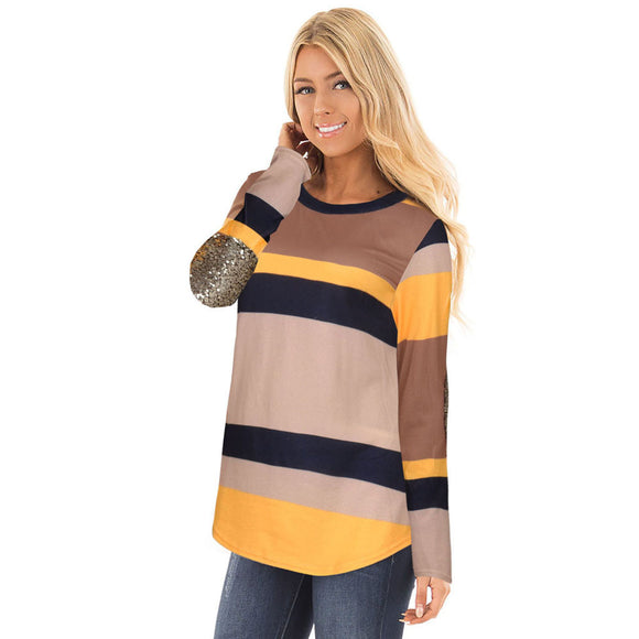Women Striped Patchwork Long Sleeve O Neck Blouse Tops Blouse T-Shirt - g-y-mega-store