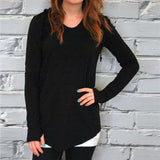 Women's Long Sleeve Solid Pockets Hooded Sweatshirt Hooded Pullover Tops Blouse - g-y-mega-store
