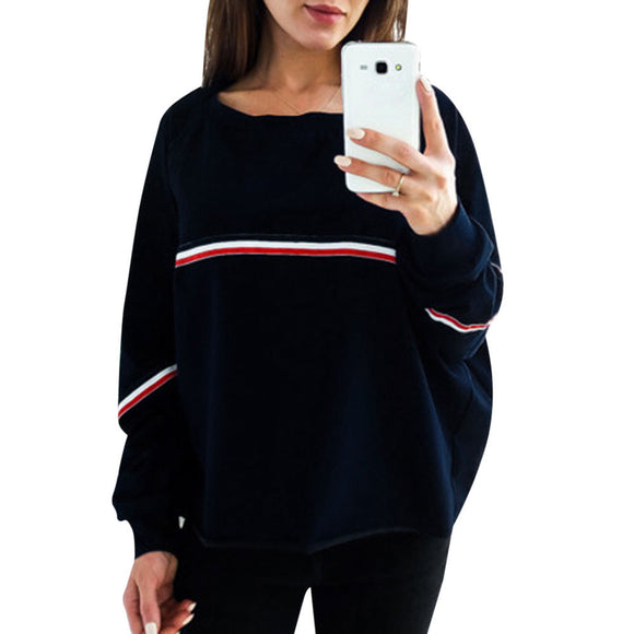Womens Ladies Casual Loose Long Sleeve Sweatshirt Pullover Tops Blouse - g-y-mega-store