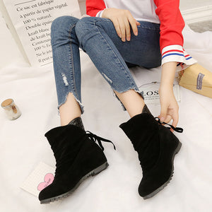 Women's Boots Weave Tassel Winter Boots Warm Mid Calf Boots Warm Winter Shoes - g-y-mega-store