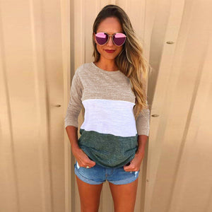Fashion Women Ladies Long Sleeve Splice Blouse Tops Clothes T Shirt - g-y-mega-store