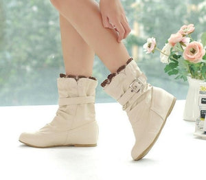 Karinluna women shoes large Size 34-43 autumn winter women boots shoes woman Lady sweet Ruffles Buckle short boots woman shoes