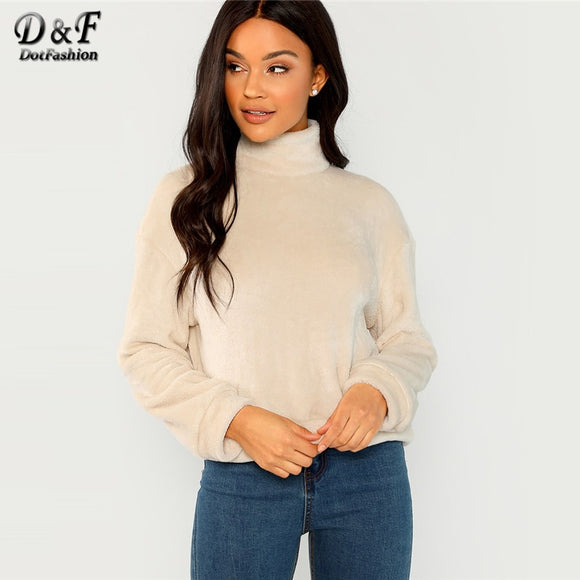 Dotfashion Apricot High Neck Faux Fur Pullover Women Casual 2018 Autumn Winter Plain Clothing Female Long Sleeve Sweatshirt - g-y-mega-store