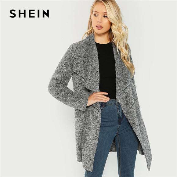 SHEIN Grey Office Lady Elegant Waterfall Collar Solid Knee Length Teddy Coat 2018 Autumn Casual Fashion Women Coats Outerwear