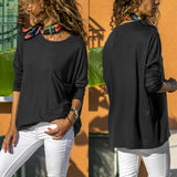 Women Autumn Casual Loose Solid O Neck Long Sleeve Pocket Blouse Tops Shirt