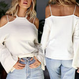 Fashion Womens Long Sleeve Casual Hang Neck Tops Dew shoulder T-shirt - g-y-mega-store