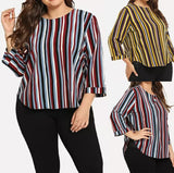 Women Casual  Loose Plus Size Autumn Long Sleeve Stripe Print Zipper Blosue Tops