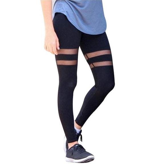 2017 Athleisure leggings for women mesh splice fitness Leggings slim black legging pants - g-y-mega-store