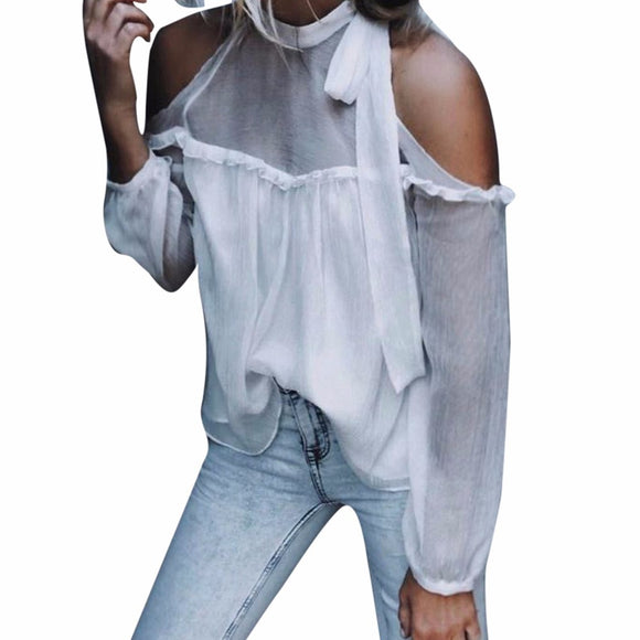 Women Solid Sexy Off Shoulder Chiffon Long Sleeve Bandage Halter Tops Blouse - g-y-mega-store