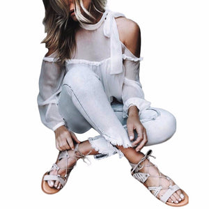 Women Solid Sexy Off Shoulder Chiffon Long Sleeve Bandage Halter Tops Blouse