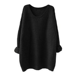 New Women Knitted Sweater Solid Color Batwing Long Sleeve Loose Warm Jumper Coat Pullover Knitwear - g-y-mega-store
