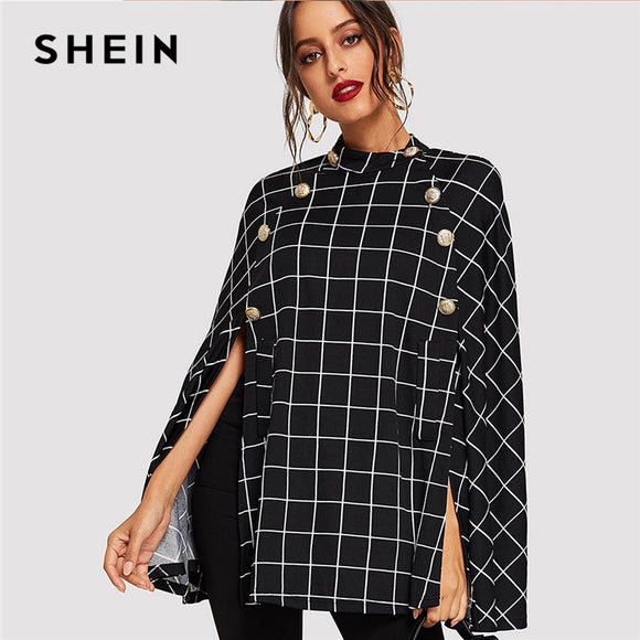 SHEIN Black Highstreet Office Lady Double Button Mock Poncho Solid Elegant Coat 2018 Autumn Women Workwear Outerwear Clothes - g-y-mega-store