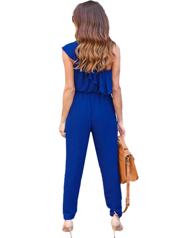 Sexy Women Oblique Playsuit Solid Color Ruffle Self-tie Sleeveless Beach Casual Rompers Jumpsuit - g-y-mega-store