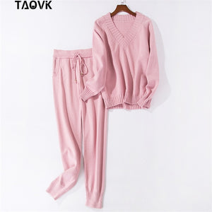TAOVK V-neck knitted wear casual long sleeve pocket jersey Ruffled collar sweater suits 2 piece sets sweater sportswear suits