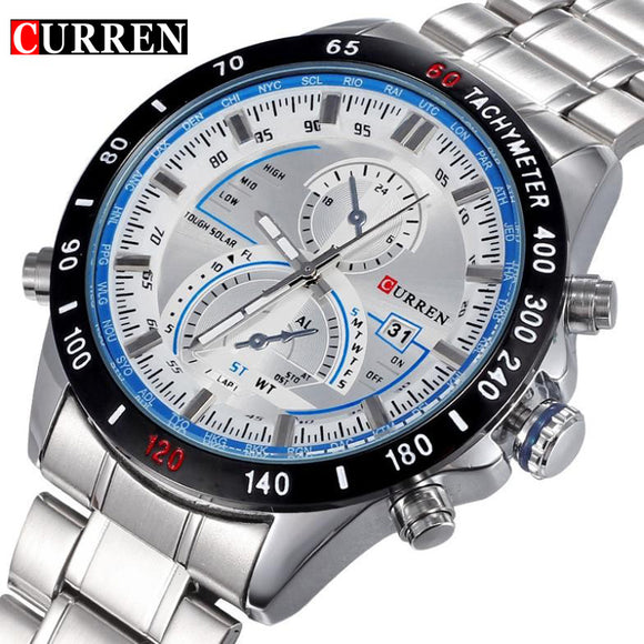 Brand Curren Dashboard Dail Men Stainless steel Quartz Wrist Watch fashion Casual Military Wristwatch Brand quality gift sale - g-y-mega-store
