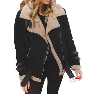 Winter Women Faux Fur Fleece Coat Outwear Warm Lapel Biker Motor Aviator Jacket - g-y-mega-store
