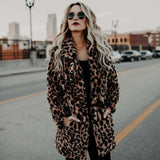 Fur Jacket Woman Print Clothing Fashion Long Sleeves Leopard Outwear Faux Winter Hooded Pockets Zipper Casual closure Women Coat - g-y-mega-store