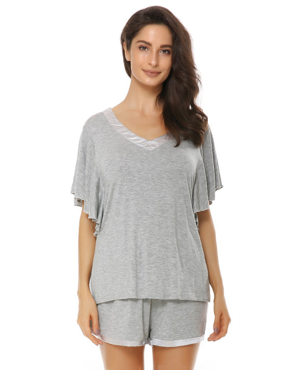 V-Neck Sleepwear Short Sleeve Pajama Set