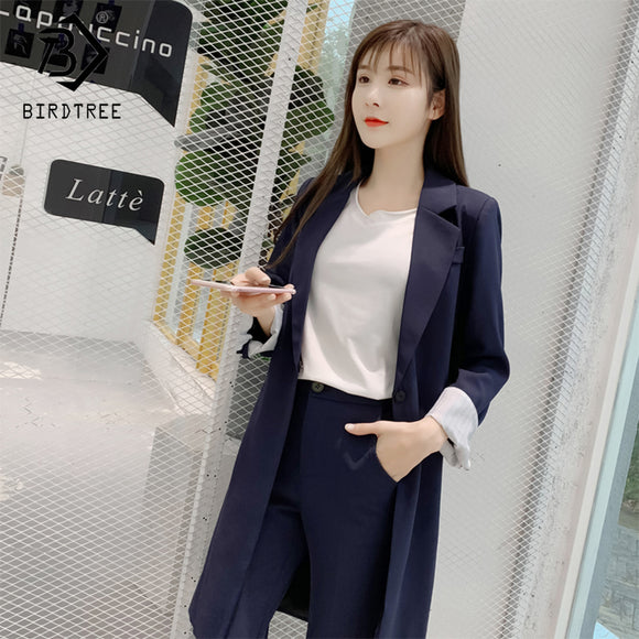 2018 Autumn And Winter New Women's Fashion Blazer Two Piece Sets Notched Collar Casual Jacket Loose Female Clothing Hot S80520L