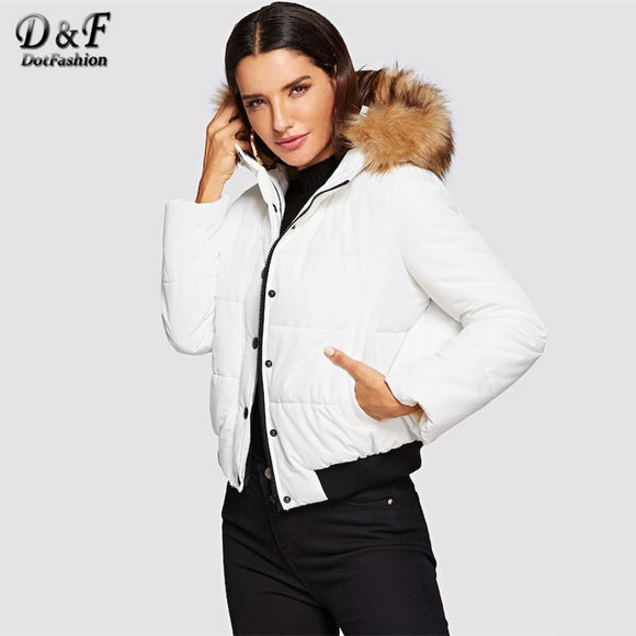 Dotfashion White Puffer Coat With Faux Fur Trim Hood Womens Winter Fashion 2018 Clothing Casual Padded Coats Short Outerwear
