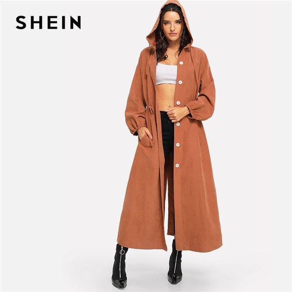 SHEIN Rust Office Lady Solid Button Up Hooded Drawstring Waist Coat Autumn Casual Workwear Women Coat And Outerwear - g-y-mega-store