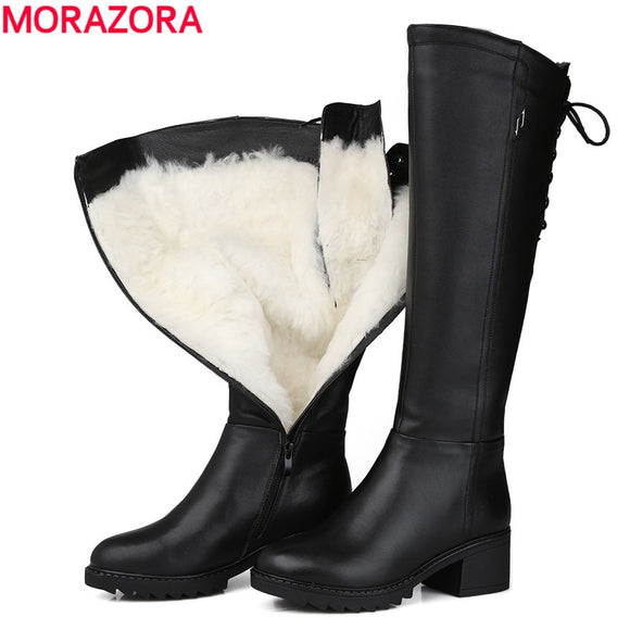 MORAZORA Russia 2018 Genuine leather boots wool fur fashion knee high boots women warm wool boots round toe winter snow boots