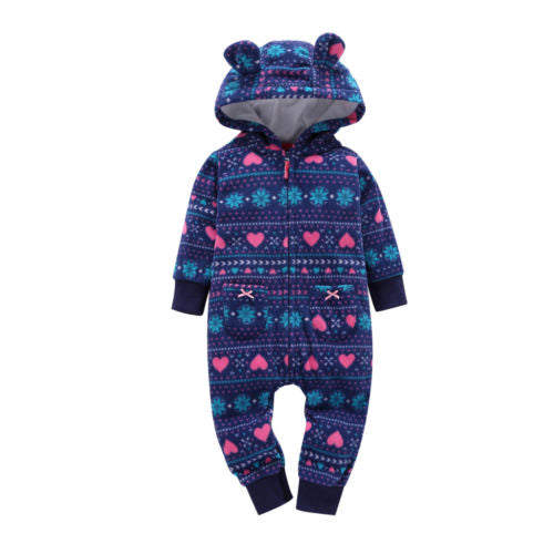 465545203f8c Cute Newborn Baby Boy Girl Clothing Hooded Warm Clothes Jumpsuit Rompe