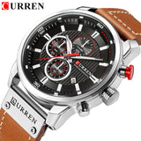 Watches Men Luxury Brand CURREN Chronograph Men Sports Watches Leather Quartz Wristwatch Relogio Masculin Clock Army Military - g-y-mega-store