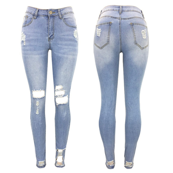 Women Jeans Stretch Washed Denim Ripped Holes Mid Waist Distressed Sexy Skinny Pencil Pants Light Blue