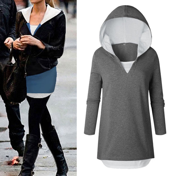 Womens Long Sleeve Hoodie Sweatshirt Hooded Pullover Tops Blouse