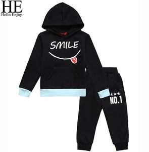 HE Hello Enjoy Spring Clothes For Kids Sets Sport Suit Hooded Print Letter Sweatshirt+Pant Tracksuits Children Clothing Fashion