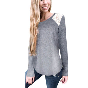 Womens Lace Long Sleeve Tops Casual Ladies Tee Shirt Blouse - g-y-mega-store