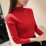 autum women ladies long sleeve turtleneck slim fitting knitted thin sweater top femme 2018 korean pull tight casual shirts T8