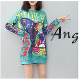 10 Styles 2018 Winter Dress Shirt Letter Dog Bear Animal Sweatshirt Women Long Sleeve Above Knee Women Sweatshirt Dress QM001