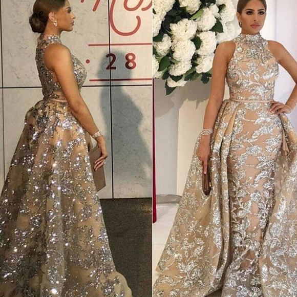 Luxury Evening Dresses Long 2018 Mermaid Sparkly Glitter Sequin with Detachable Skirt Saudi Arabic Formal Prom Evening Gown