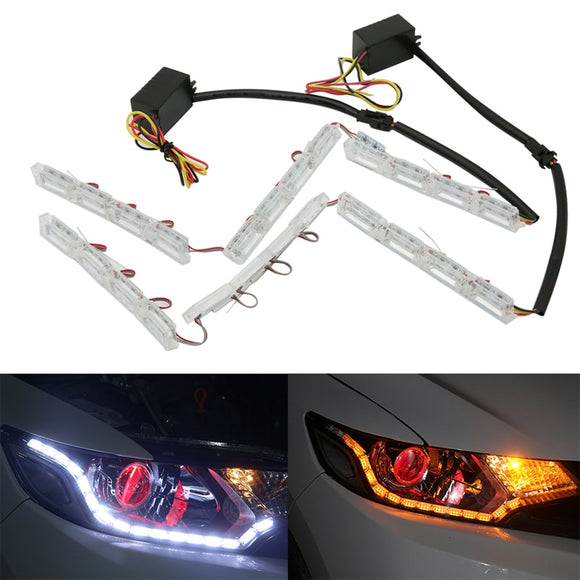 2x Flexible LED Car Daytime Running Light DRL Turn Signal light For Ford Focus Fiesta Mondeo Fusion Ranger Kia Sportage Ceed Rio - g-y-mega-store