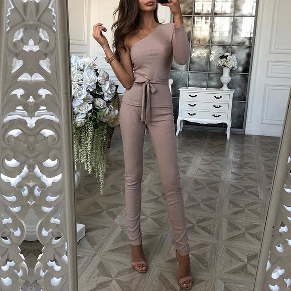 Autumn Women Fashion Elegant Casual Suit Sets Ribbed One Sleeve Tie Waist Top & Long Pants Sets