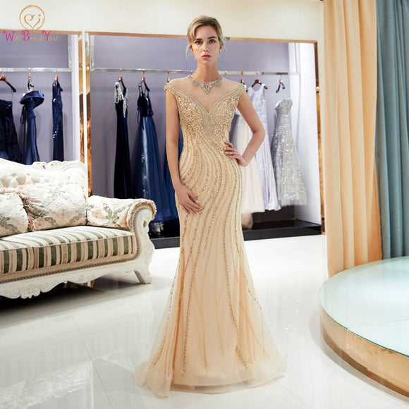 Gold Evening Dresses Walk Beside You Mermaid Beaded Crystal Sleeveless Sukienka Wieczorowa Vestidos Formales Royal Prom Gown