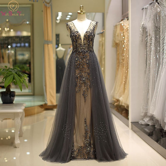 Luxury Hard Beading Evening Dresses Dark Gray Gold Diamond Crystal Tulle Deep V-neck Sexy Formal Engagement Prom Party Gowns